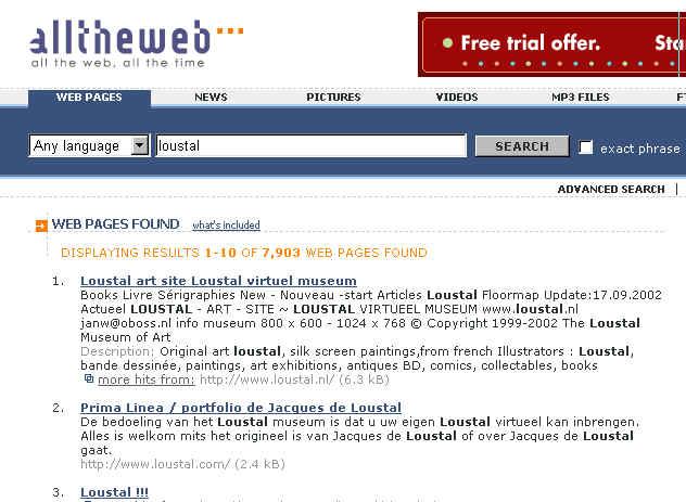 Website Www.Loustal.nl N°1 Of All Best Search Engines